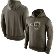 Wholesale Cheap Men's Los Angeles Rams Nike Olive Salute To Service KO Performance Hoodie