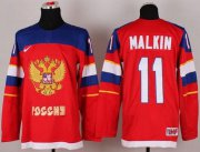 Wholesale Cheap 2014 Olympic Team Russia #11 Evgeni Malkin Red Stitched NHL Jersey