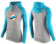 Wholesale Cheap Women's Nike Miami Dolphins Performance Hoodie Grey & Blue_2