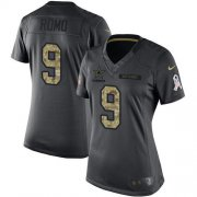 Wholesale Cheap Nike Cowboys #9 Tony Romo Black Women's Stitched NFL Limited 2016 Salute to Service Jersey