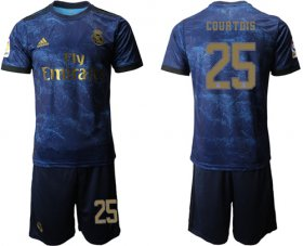 Wholesale Cheap Real Madrid #25 Courtois Dark Blue Soccer Club Jersey