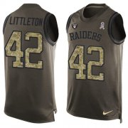 Wholesale Cheap Nike Raiders #42 Cory Littleton Green Men's Stitched NFL Limited Salute To Service Tank Top Jersey