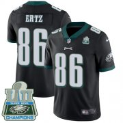 Wholesale Cheap Nike Eagles #86 Zach Ertz Black Alternate Super Bowl LII Champions Men's Stitched NFL Vapor Untouchable Limited Jersey