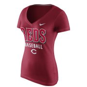Wholesale Cheap Cincinnati Reds Nike Women's New Practice V-Neck T-Shirt Red