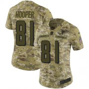 Wholesale Cheap Nike Falcons #81 Austin Hooper Camo Women's Stitched NFL Limited 2018 Salute to Service Jersey