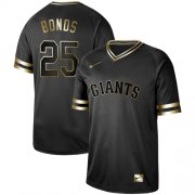 Wholesale Cheap Nike Giants #25 Barry Bonds Black Gold Authentic Stitched MLB Jersey