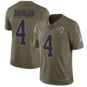 Wholesale Cheap Nike Rams #4 Greg Zuerlein Olive Youth Stitched NFL Limited 2017 Salute to Service Jersey