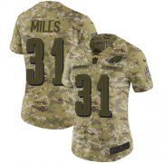 Wholesale Cheap Nike Eagles #31 Jalen Mills Camo Women's Stitched NFL Limited 2018 Salute to Service Jersey