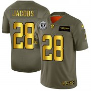 Wholesale Cheap Raiders #28 Josh Jacobs NFL Men's Nike Olive Gold 2019 Salute to Service Limited Jersey