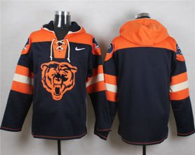 Wholesale Cheap Nike Bears Blank Navy Blue Player Pullover NFL Hoodie