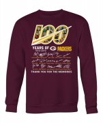 Wholesale Cheap Green Bay Packers 100 Seasons Memories Pullover Sweatshirt Wine