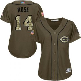 Wholesale Reds #14 Pete Rose Green Salute to Service Women\'s Stitched Baseball Jersey