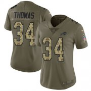 Wholesale Cheap Nike Bills #34 Thurman Thomas White Olive/Camo Women's Stitched NFL Limited 2017 Salute to Service Jersey