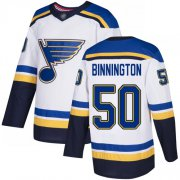 Wholesale Cheap Adidas Blues #50 Jordan Binnington White Road Authentic Stitched NHL Jersey