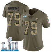 Wholesale Cheap Nike Eagles #79 Brandon Brooks Olive/Camo Super Bowl LII Women's Stitched NFL Limited 2017 Salute to Service Jersey