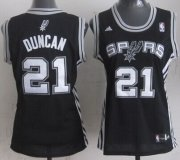 Wholesale Cheap San Antonio Spurs #21 Tim Duncan Black Womens Jersey