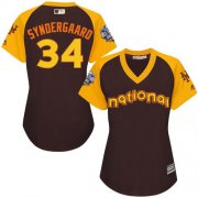 Wholesale Cheap Mets #34 Noah Syndergaard Brown 2016 All-Star National League Women's Stitched MLB Jersey