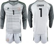 Wholesale Cheap Mexico #1 Corona Grey Long Sleeves Goalkeeper Soccer Country Jersey