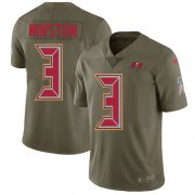 Wholesale Cheap Nike Buccaneers #3 Jameis Winston Olive Youth Stitched NFL Limited 2017 Salute to Service Jersey