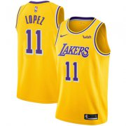 Wholesale Cheap Nike Los Angeles Lakers #11 Brook Lopez Gold NBA Swingman Icon Edition Jersey