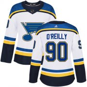 Wholesale Cheap Adidas Blues #90 Ryan O'Reilly White Road Authentic Women's Stitched NHL Jersey