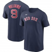 Wholesale Cheap Boston Red Sox #9 Ted Williams Nike Cooperstown Collection Name & Number T-Shirt Navy