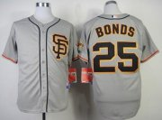 Wholesale Cheap Giants #25 Barry Bonds Grey Cool Base Road 2 Stitched MLB Jersey