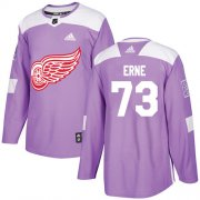 Wholesale Cheap Adidas Red Wings #73 Adam Erne Purple Authentic Fights Cancer Stitched NHL Jersey