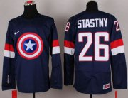Wholesale Cheap Olympic Team USA #26 Paul Stastny Navy Blue Captain America Fashion Stitched NHL Jersey