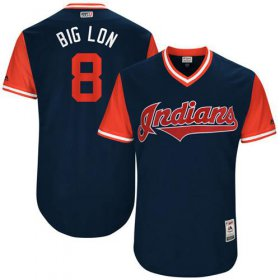 "Wholesale Cheap Indians #8 Lonnie Chisenhall Navy ""Big Lon\"" Players Weekend Authentic Stitched MLB Jersey"