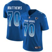 Wholesale Cheap Nike Falcons #70 Jake Matthews Royal Men's Stitched NFL Limited NFC 2019 Pro Bowl Jersey