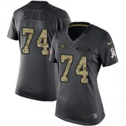 Wholesale Cheap Nike 49ers #74 Joe Staley Black Women's Stitched NFL Limited 2016 Salute to Service Jersey
