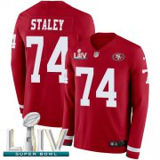 Wholesale Cheap Nike 49ers #74 Joe Staley Red Super Bowl LIV 2020 Team Color Men's Stitched NFL Limited Therma Long Sleeve Jersey