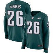 Wholesale Cheap Nike Eagles #26 Miles Sanders Midnight Green Team Color Women's Stitched NFL Limited Therma Long Sleeve Jersey
