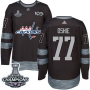 Wholesale Cheap Adidas Capitals #77 T.J Oshie Black 1917-2017 100th Anniversary Stanley Cup Final Champions Stitched NHL Jersey