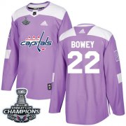 Wholesale Cheap Adidas Capitals #22 Madison Bowey Purple Authentic Fights Cancer Stanley Cup Final Champions Stitched NHL Jersey