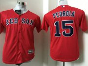 Wholesale Cheap Red Sox #15 Dustin Pedroia Red Cool Base Name On Back Stitched Youth MLB Jersey