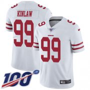 Wholesale Cheap Nike 49ers #99 Javon Kinlaw White Youth Stitched NFL 100th Season Vapor Untouchable Limited Jersey