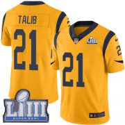 Wholesale Cheap Nike Rams #21 Aqib Talib Gold Super Bowl LIII Bound Youth Stitched NFL Limited Rush Jersey