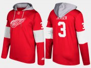 Wholesale Cheap Red Wings #3 Nick Jensen Red Name And Number Hoodie
