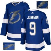 Wholesale Cheap Adidas Lightning #9 Tyler Johnson Blue Home Authentic Fashion Gold Stitched NHL Jersey