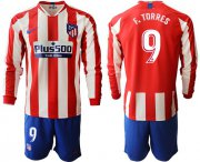 Wholesale Atletico Madrid #9 F.Torres Home Long Sleeves Soccer Club Jersey