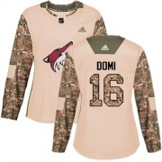 Wholesale Cheap Adidas Coyotes #16 Max Domi Camo Authentic 2017 Veterans Day Women's Stitched NHL Jersey