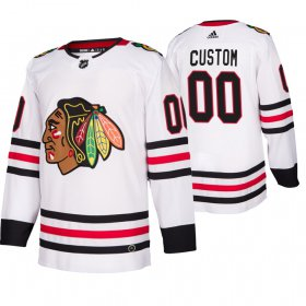 Wholesale Cheap Chicago Blackhawks Custom 2019-20 Away Authentic Player White NHL Jersey