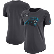 Wholesale Cheap NFL Women's Carolina Panthers Nike Anthracite Crucial Catch Tri-Blend Performance T-Shirt