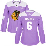 Wholesale Cheap Adidas Blackhawks #6 Olli Maatta Purple Authentic Fights Cancer Women's Stitched NHL Jersey