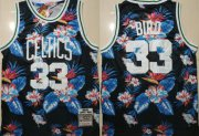 Wholesale Cheap Celtics Bape 33 Larry Bird Black 1985-86 Hardwood Classics Floral Fashion Swingman Jersey