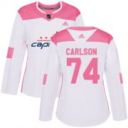 Wholesale Cheap Adidas Capitals #74 John Carlson White/Pink Authentic Fashion Women's Stitched NHL Jersey