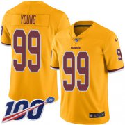 Wholesale Cheap Nike Redskins #99 Chase Young Gold Youth Stitched NFL Limited Rush 100th Season Jersey