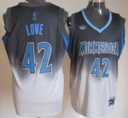 Wholesale Cheap Minnesota Timberwolves #42 Kevin Love Black/Gray Fadeaway Fashion Jersey